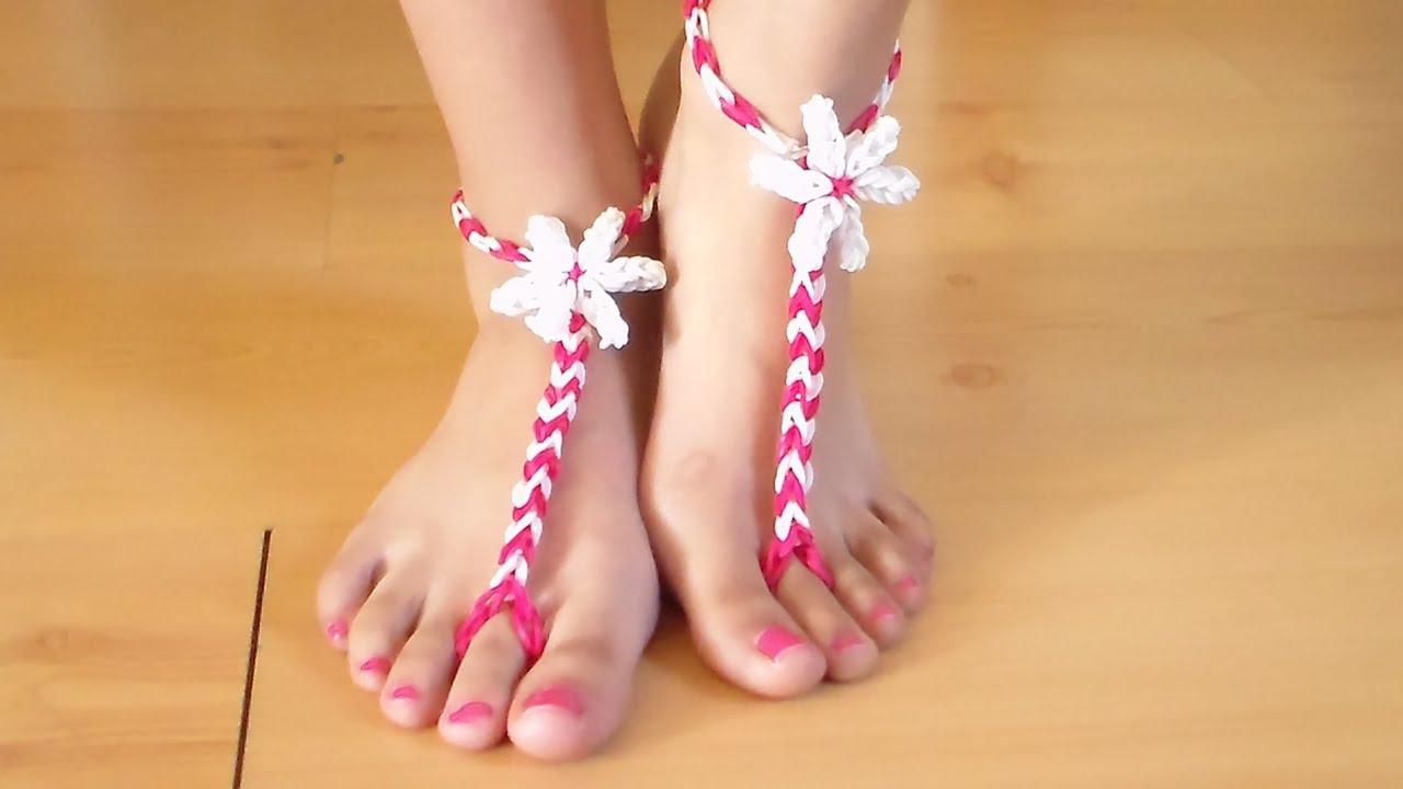 Como Hacer Sandalias De Gomitas Para Los Pies Descalzos