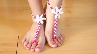 Repeat youtube video Como Hacer Sandalias de Gomitas para los pies descalzos sin telar