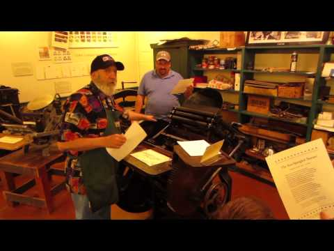 Printing press demonstration at the Baltimore Museum of Industry 10-28-12