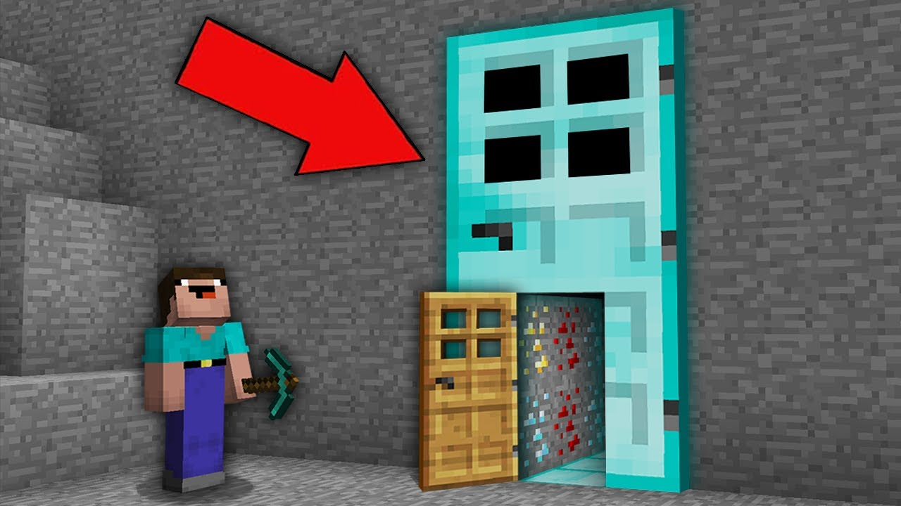 Minecraft NOOB vs PRO: NOOB FOUND SECRET PASSAGE IN LARGE DIAMOND DOOR! Challenge 100% trolling