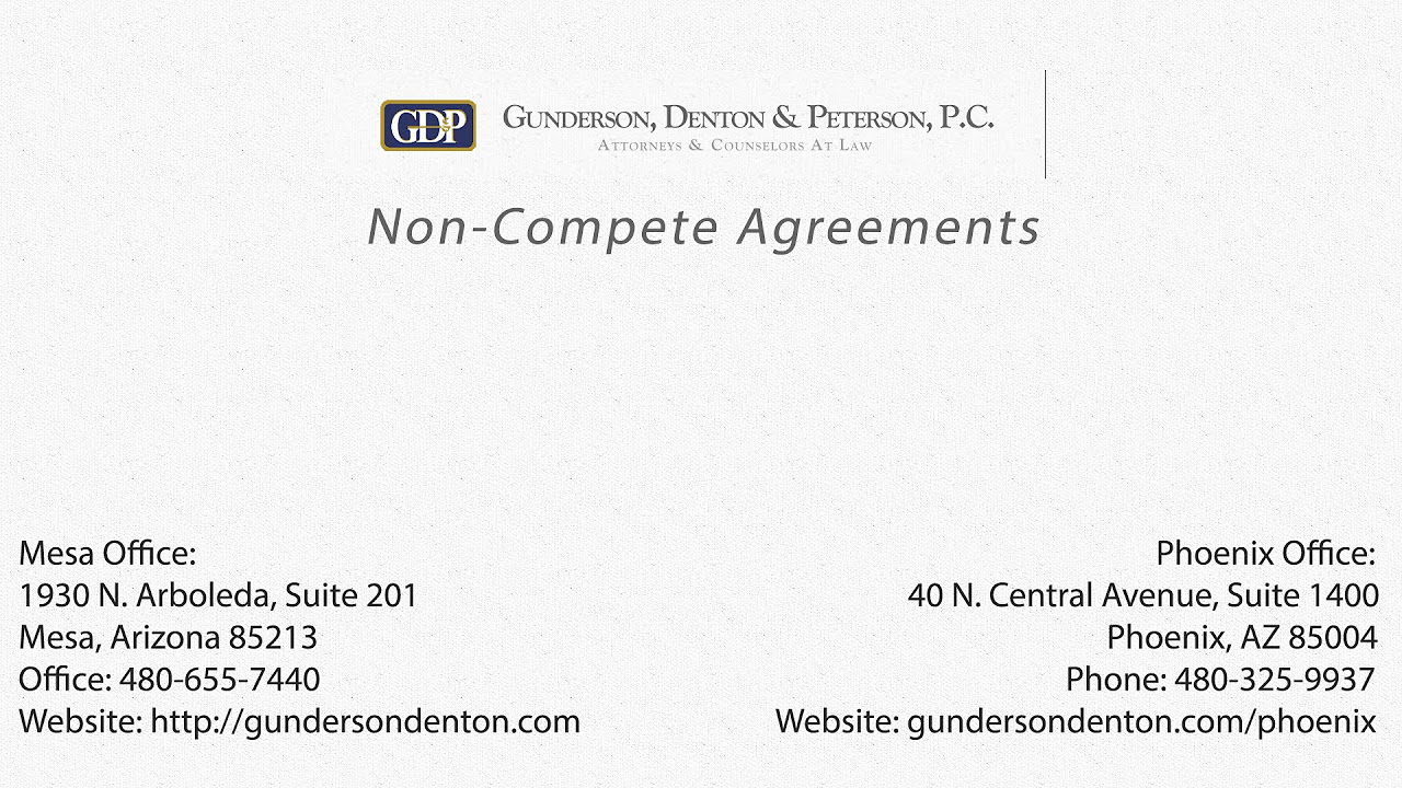 non compete agreements in the of a business gunderson non compete agreements in the of a business gunderson denton peterson pc
