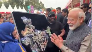 When an artist presented PM a map of India at Hunar Haat...