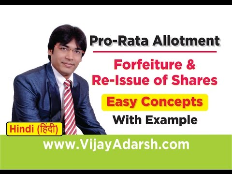 Pro-Rata Allotment, Forfeiture & Re-Issue of Shares– Concepts & Example | Stay Learning | (HINDI)