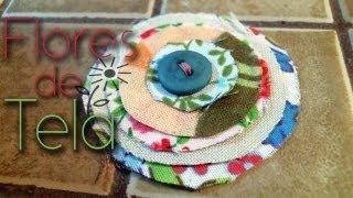 Broches con flores de tela para / hair flowers clips ♥ Thumbnail