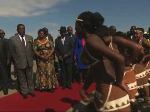 Zimbabwean President Emmerson Mnangagwa arrives in Namibia  - NBC