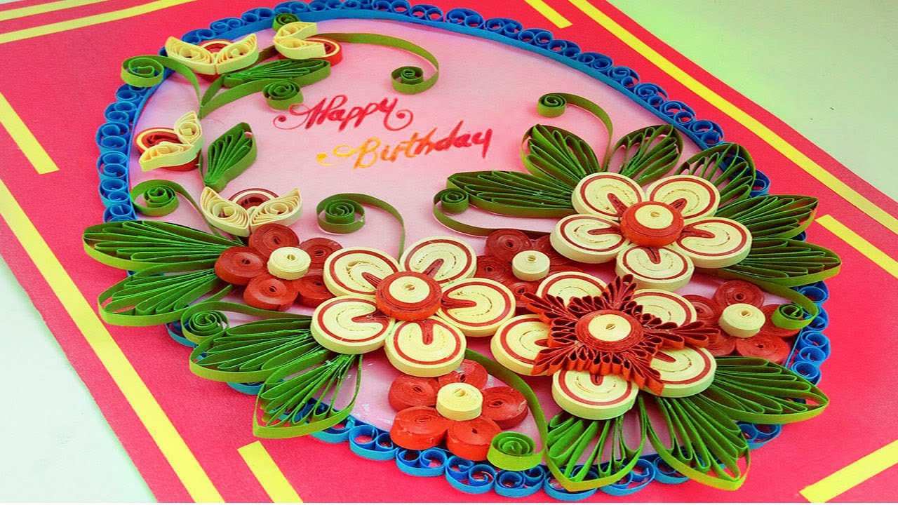 paper art how to make quilling greeting card for birthday paper quilling art - Birthday Card Art