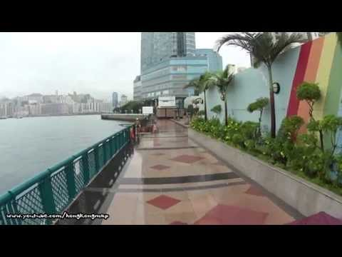 【Hong Kong One Hour】Walking on East TST Harbour Front in a raining day (Upper View)