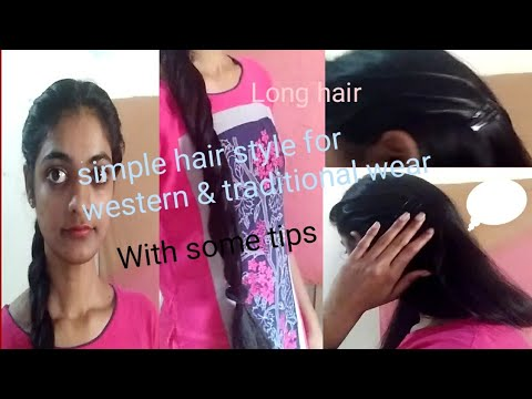 Simple 2types of long hair/ Hairstyles/For traditional& western wear/Evergreen telugu channel ...