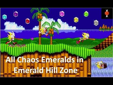 Sonic the Hedgehog 2 (Sega Genesis) - All 7 Chaos Emeralds in Emerald Hill Zone