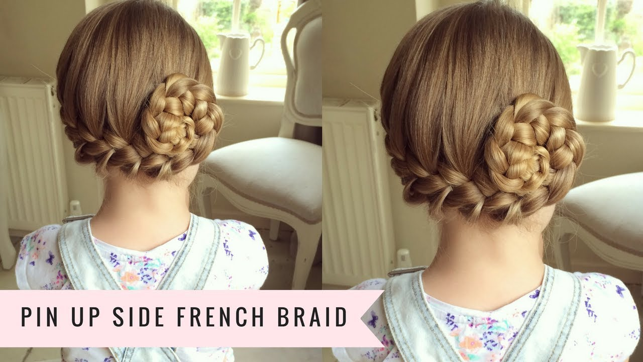 Pin-up Side French Braid by SweetHearts Hair - YouTube