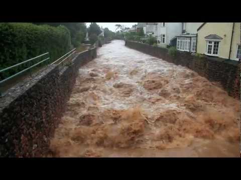 Sidmouth, Devon, UK floods