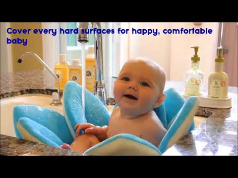 Baby Bath time ♥ Cute Baby Flower Bath Mat Sink Sponge Seat - YouTube