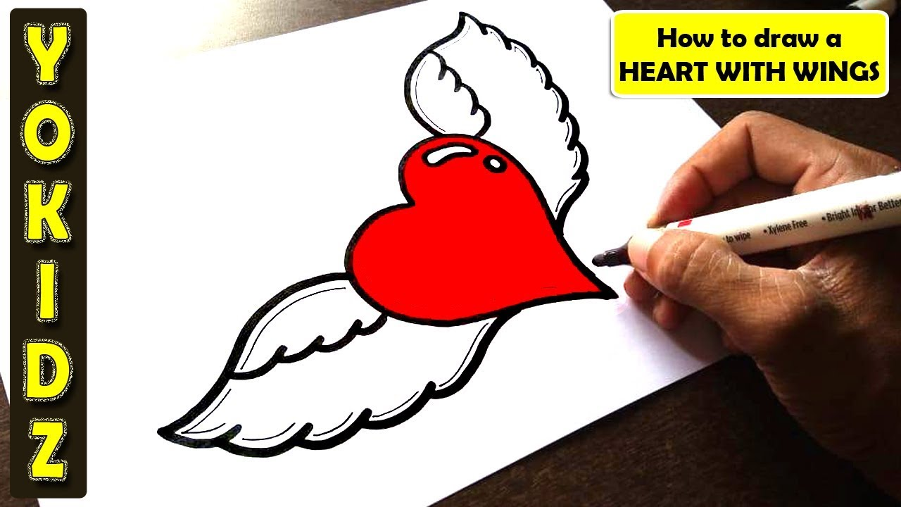 How To Draw A Heart With Wings Easy Youtube