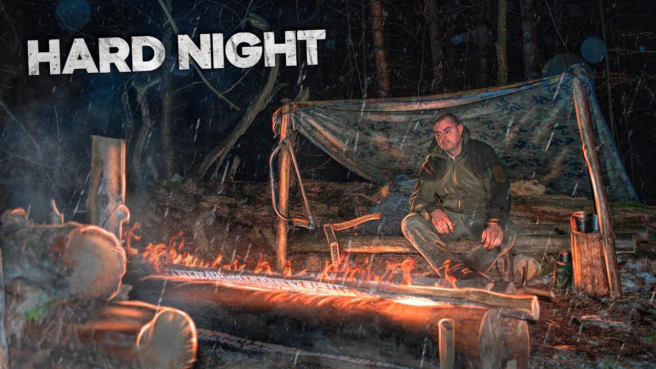 Overnight in the woods in heavy rain, Bushcraft solo overnight, Campfire for the night