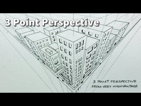 how to draw buildings from  high view point in 3 point perspective