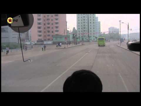 Driving through Pyongsong, North Korea