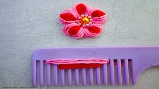Easy Sewing Hack With Hair Comb |hand Embroidery Amazing Tricks #19|super Easy Flower Embroidery