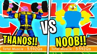 NOOB DISGUISE TROLLING!! NOOB VS THANOS! PRETENDING TO BE A NOOB IN ROBLOX LIFTING SIMULATOR!!