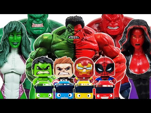 Avengers, Red Hulk Go~!  Iron Man, She-Hulk, Spider-Man, Captain America, Thanos, Venom, Tayo
