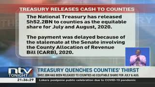 Counties receive money from National Treasury
