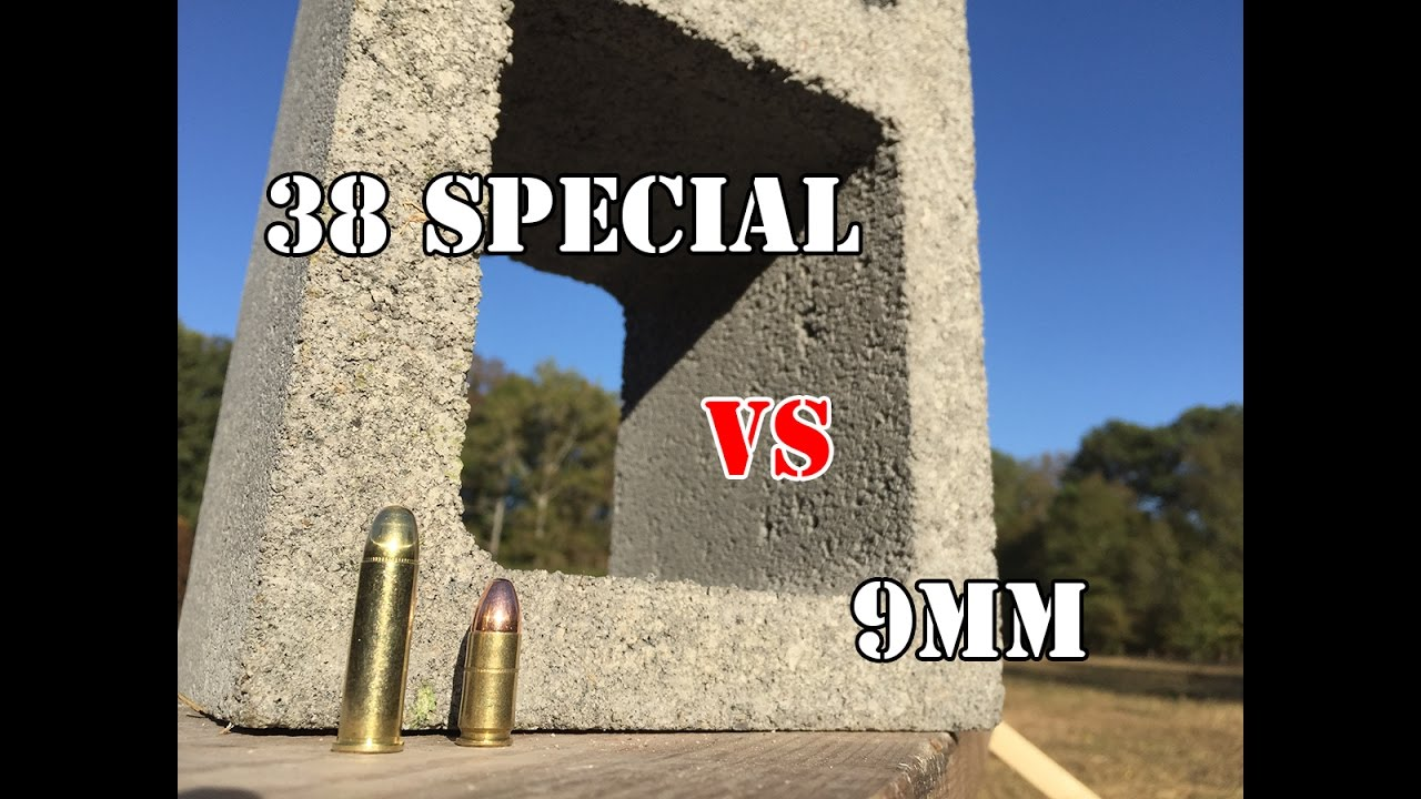 9mm Vs .38 Special... Cinder Block Test