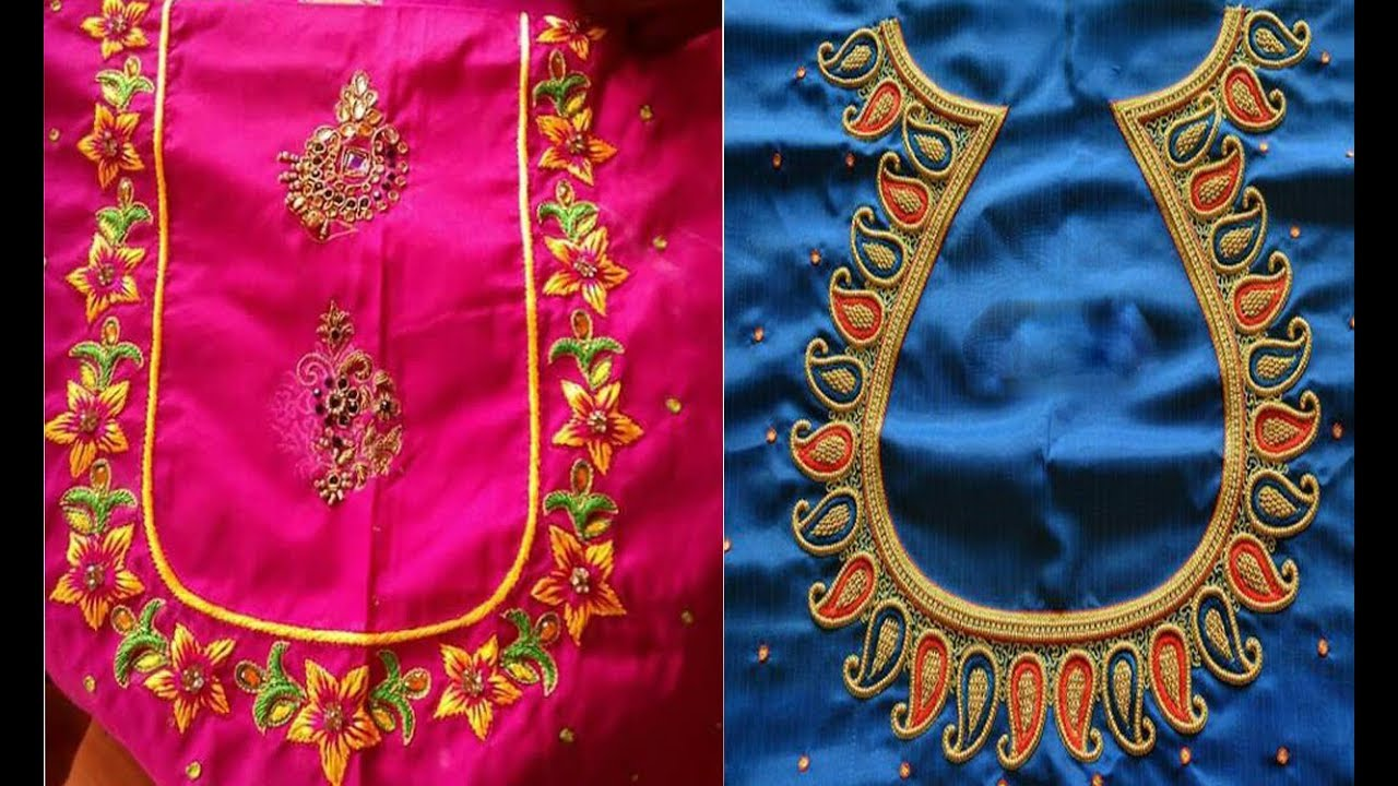 Beautiful And Simple Thread Embroidery Work Blouse Back Neck Designs