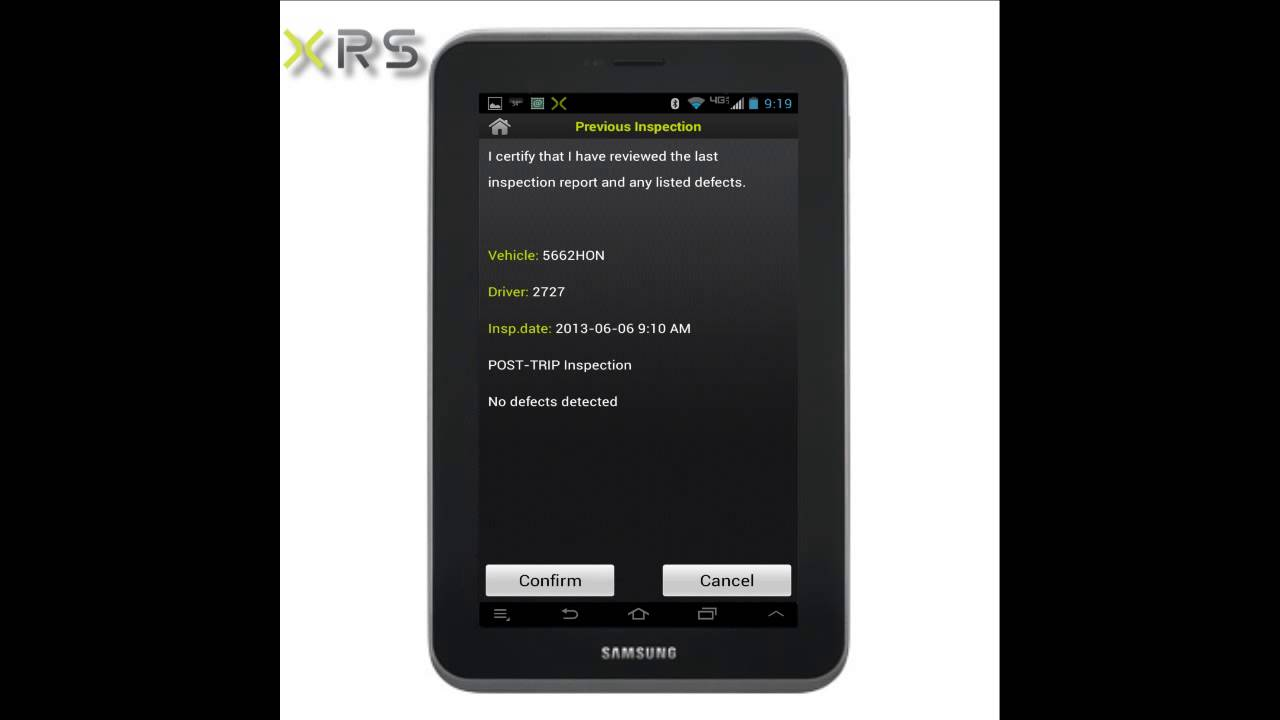 XRS Driver login Pre-Trip Inspection Shipping Information