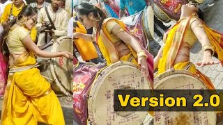 Cute Indian Yellow Saree Girl Dhol Performance | Lovely Performance Beats |  WhatUp Tamizha