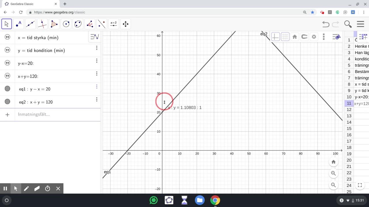Geogebra - Grafanalys - Ekvationssystem med grafisk metod