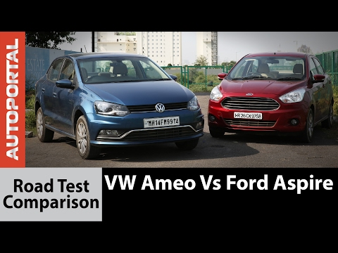 Ford Figo Aspire vs VW Ameo Test Drive Comparison Review - Autoportal