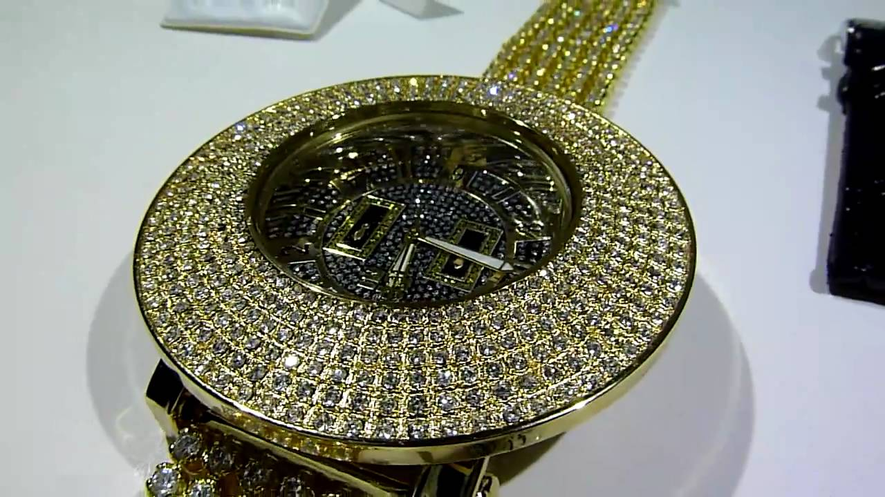 """Breitling For Bentley >> GOLD Lab Made """"6-Row DOME Bezel"""" Breitling-type Diamond Watch w/BLACK FACE! -FREE 360 EARRINGS ..."""