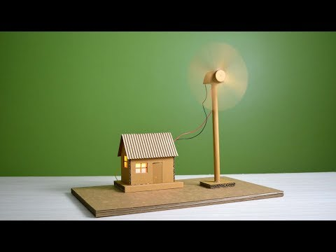How to make working model of a wind turbine from cardboard |