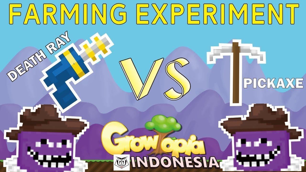 Growtopia Indonesia Farming Experiment Death Ray Vs Pickaxe Youtube