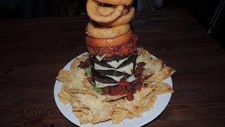 "Ark Burger Challenge 5 Patty ""ark-aos"" Stacked Cheeseburger W/ Nachos!!"