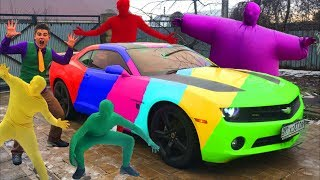 Green Man & Red Man on Chevrolet Camaro came in Car Service by Mr. Joe & Yellow Man for Kids thumbnail