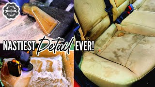 Complete Disaster Car Interior Detailing Transformation! DEEP CLEANING A Disgusting Car Interior!