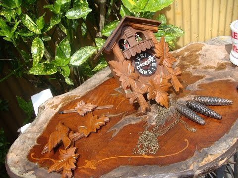 German Cuckoo Wall Clock   /  Swiss Music   Triplle Weight  driven  See Video