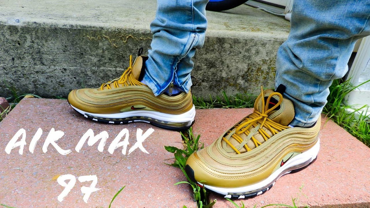 new styles 927fd e02ca Air Max 97 Gold Restock 2018 QS On Feet Review!!!!