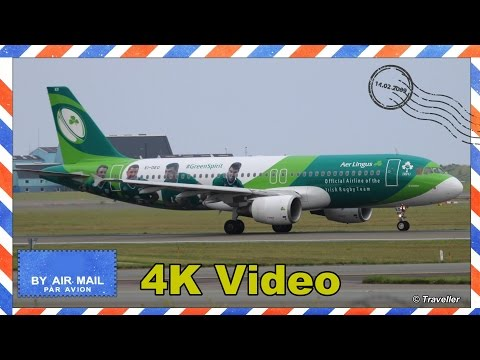 SPECIAL VISITOR - Aer Lingus Irish Rugby Team Livery Airbus A320 visits CPH - Flyvergriillen - 4K