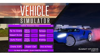 Roblox Vehicle Simulator Script/GUI l AutoFarm,SuperCar,TPCrates
