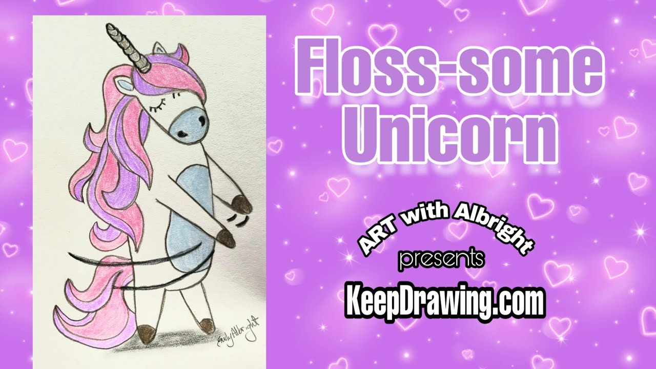 How to draw a Floss-Some Unicorn learn step by step ART with Albright