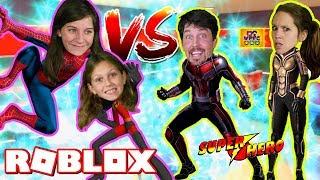 ROBLOX 2 PLAYER SUPERHERO TYCOON TEAMS! ANTMAN VS SPIDERMAN! PARENTS VS KIDS WITH BEST SWORD EVER!