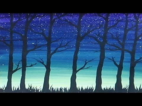 Acrylic Painting Simple Trees Silhouette Youtube