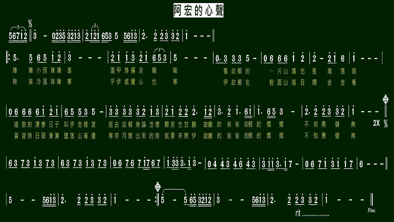 5.阿宏的心聲(Bb)伴奏-(簡譜) - YouTube