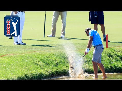 Max Homa saves par from the water at Arnold Palmer