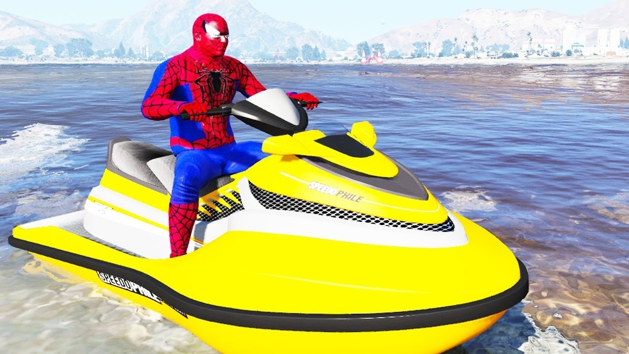 Lightning Mcqueen And Spiderman With Cool Jet Ski Nursery Rhymes Cartoon For Kids Youtube