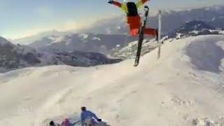 ★Skiing★ - Чувак реально валит лыжный фрирайд, Его ловит полиция:)