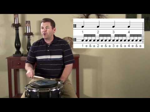 Drumming Expert counting Quarter 8th and 16th notes, learn how to play drums