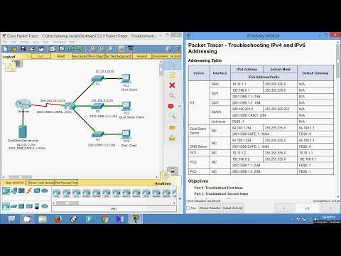 7.3.2.9 Packet Tracer - Troubleshooting IPv4 and IPv6 Addressing
