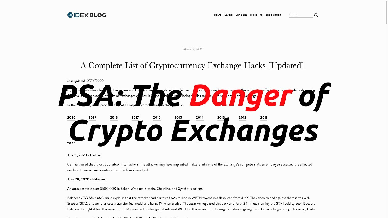 PSA: The Danger of Crypto Exchanges